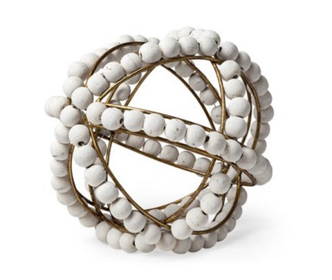 White Wooden Beaded Orb- Small