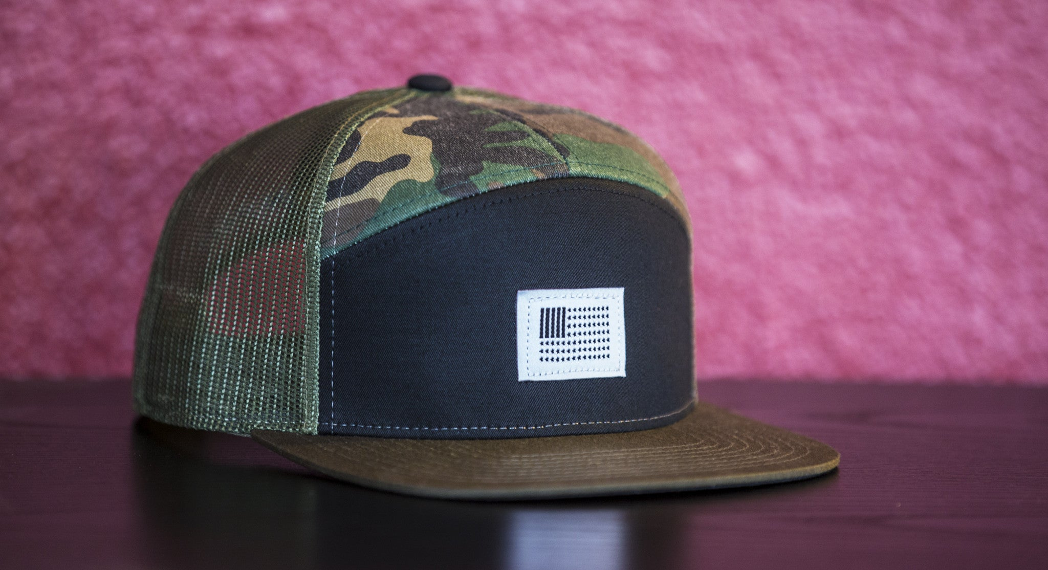 BARS & STARS 7 PANEL TRUCKER // CAMO & BLACK | SNAPBACK