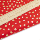 Festive Red with White & Gold stars - Extra Wide - 100% Cotton Fabric