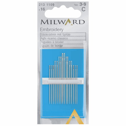 Milward Hand Sewing EMBROIDERY/CREWEL Needles: Nos. 3-9