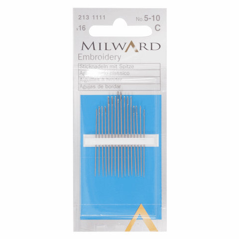 Milward Hand Sewing EMBROIDERY/CREWEL Needles: Nos. 5-10