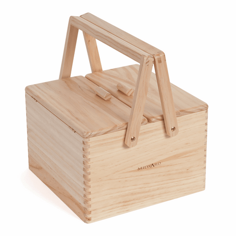 Twin Lid Wooden Sewing & Craft Box