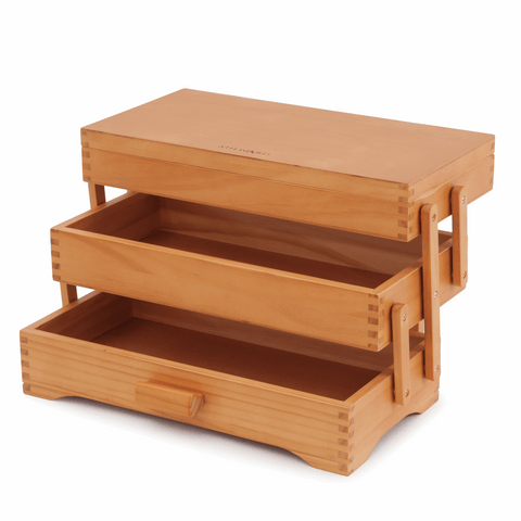 Wooden Cantilever Sewing & Craft Box