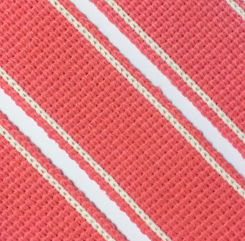 34mm premium soft touch striped webbing for bag making in Coral - Hot Pink Haberdashery