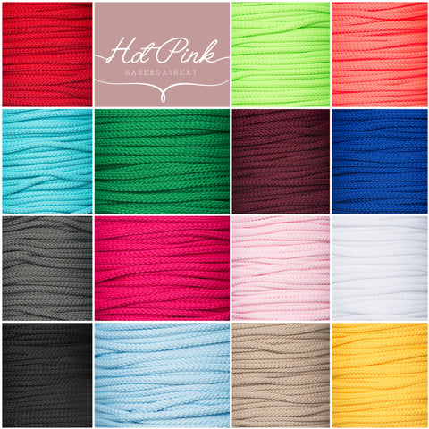 4mm Drawstring Lacing, Piping Cord 20+ Colours