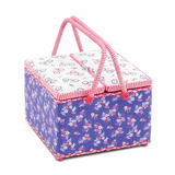Square Twin Lid Sewing Baskets - Bicycle Floral