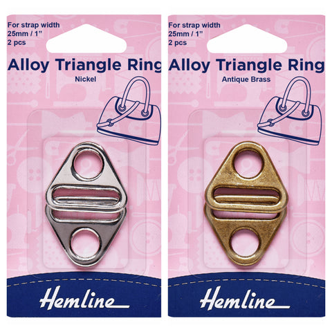 Hemline Alloy Triangle Ring - Pack of 2
