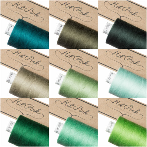 1000m Coates Polyester Moon Thread: Greens