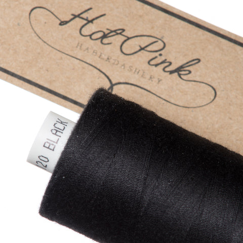 1000m Coates Polyester Moon Thread: Black, White & Natural - Hot Pink Haberdashery  - 2