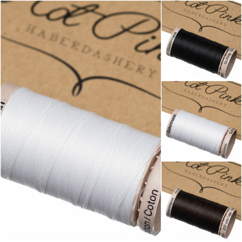 200m Gutermann Cotton Quilting Thread: Black & White