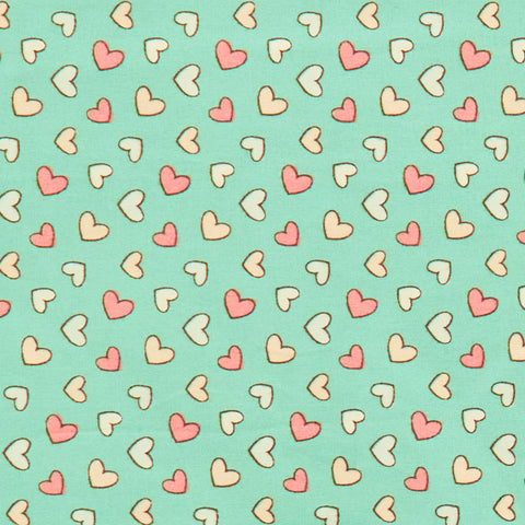 Pastel Hearts - 100% Cotton Poplin Fabric