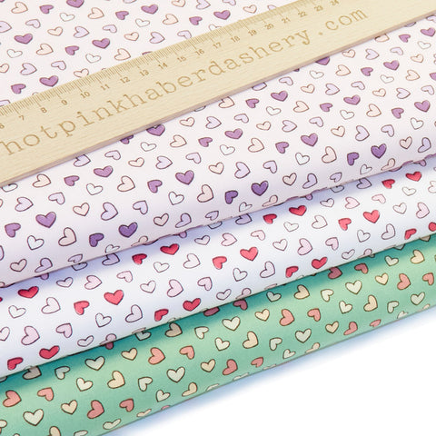 Pastel Hearts - 100% Cotton Poplin Fabric by Benmar Textiles