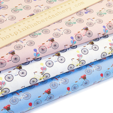 Bicycles & Balloons - Extra Wide Fabric - 100% Cotton Poplin Fabric by Benmar Textiles