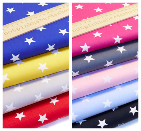 Bold Stars - 100% Cotton Poplin Fabric by Rose & Hubble