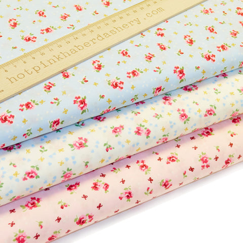 Flowers & Bows - 100% Cotton Poplin Fabric by Rose & Hubble