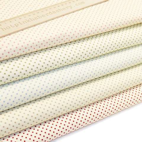 Polka Dot Neutrals - 100% Cotton Poplin Fabric by Rose & Hubble