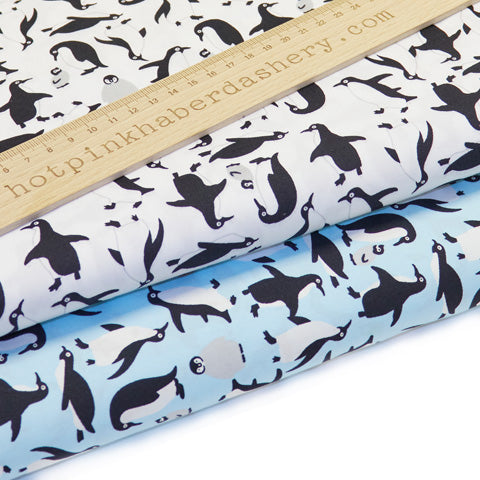 Penguins - 100% Cotton Poplin Fabric by Rose & Hubble