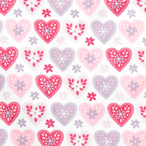 Floral Hearts - 100% Cotton Poplin Fabric by Rose & Hubble