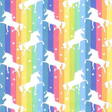 Rainbow Unicorns - 100% Cotton Poplin Fabric by Rose & Hubble
