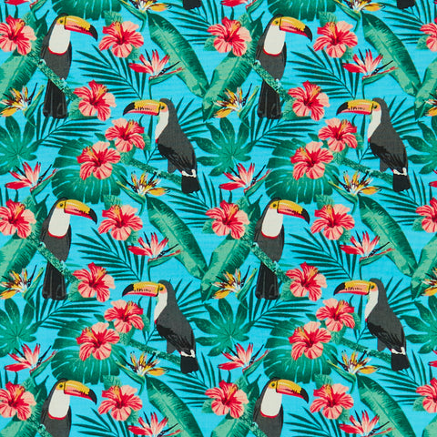 Tropical Toucans - 100% Cotton Poplin Fabric by Rose & Hubble