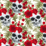 Skulls & Wild Flowers - 100% Cotton Poplin Fabric by Rose & Hubble