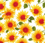 Bold Sunflowers - 100% Cotton Poplin Fabric by Rose & Hubble