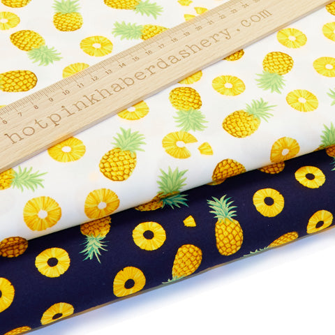 Pineapples - 100% Cotton Poplin Fabric by Rose & Hubble
