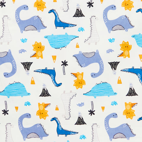Geometric Dinosaurs & Volcanos - 100% Cotton Poplin Fabric by Rose & Hubble