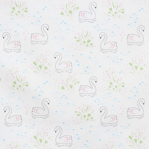 Swans - 100% Cotton Poplin Fabric by Rose & Hubble