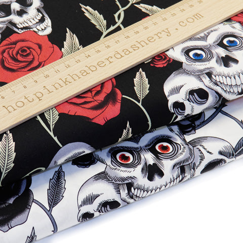 Skulls & Roses - 100% Cotton Poplin Fabric by Rose & Hubble