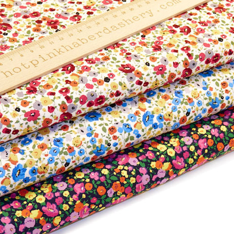 Painted Flowers - 100% Cotton Poplin Fabric by Rose & Hubble