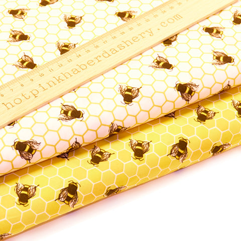 Honey Bees - 100% Cotton Poplin Fabric by Rose & Hubble