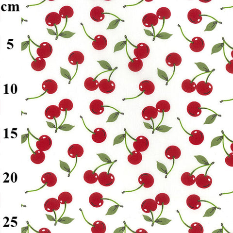 Ivory Cherries Cotton Poplin fabric by Rose & Hubble