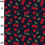 Navy Cherry Cotton Poplin Fabric By Rose & Hubble
