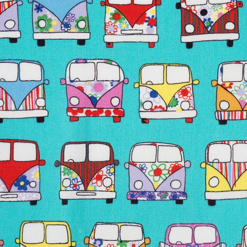 Rose and Hubble print retro campervan print on 100% cotton poplin. Mint green background with multi coloured devorated campers.