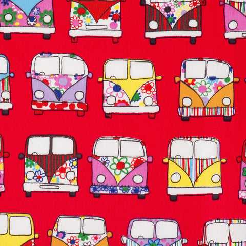 Pick N Mix: Cotton Campervans Red - Hot Pink Haberdashery
