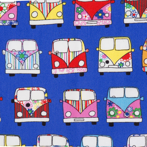 Pick N Mix: Cotton Campervans Royal Blue - Hot Pink Haberdashery