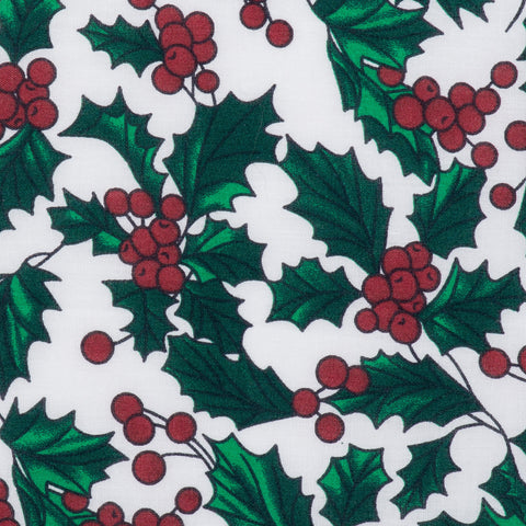 Pick N Mix: Christmas Holly on White - Hot Pink Haberdashery
