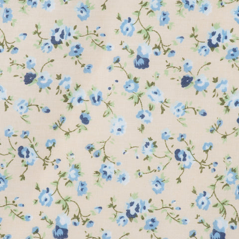 Vintage Floral in Cream & Blue