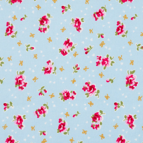 Pick N Mix: Cotton Flowers & Bows Blue - Hot Pink Haberdashery