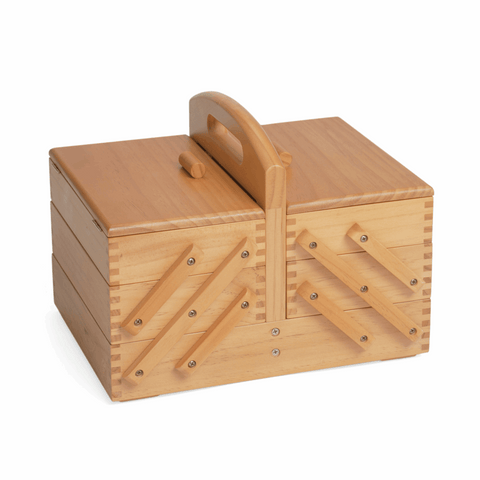 Wooden Sewing Craft Box - Traditional Cantilever Style