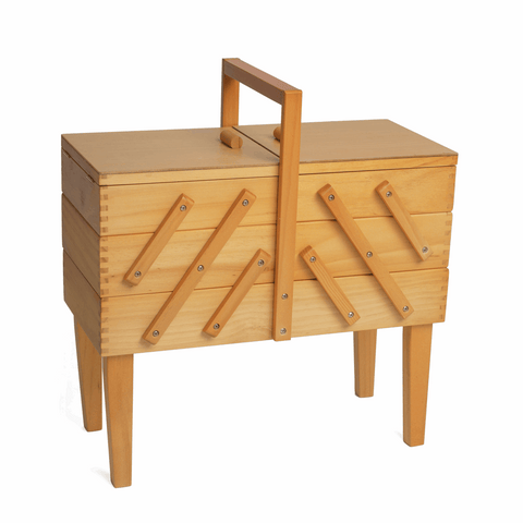 Wooden Sewing Craft Box - Cantilever 3 Tier with Legs