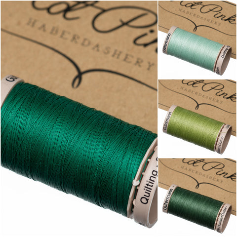 200m Gutermann Cotton Quilting Thread: Greens