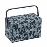 Fold Over Lid Sewing Basket - Nordic Navy