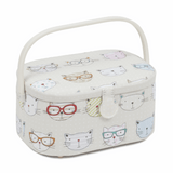 Oval Sewing Basket - Cool Cats