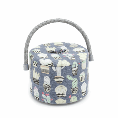 Round Tub Sewing Box - Cactus Hoedown