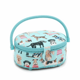 Oval Sewing Basket - Dogs in Jumpers