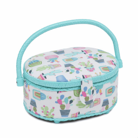 Oval Sewing Basket - Cactus Party