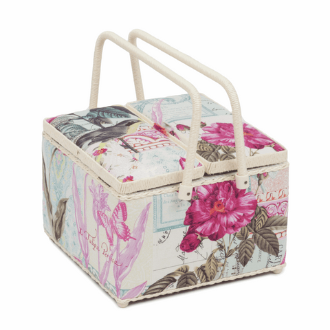 Square Twin Lid Sewing Basket - Belle Rose