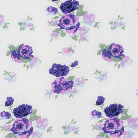 Pick N Mix: Ivory with Purple Roses - Hot Pink Haberdashery